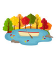boat in a pond in the autumn forest vector image