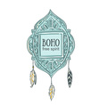 Boho style background Blue decorative frame with