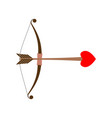 bow cupid arrow of love with heart for valentines vector image