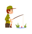 boy scout character in uniform fishing outdoor vector image