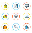 business colorful outline icons set collection of vector image vector image