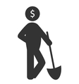 business finance icon with shovel isolated on vector image