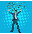 Businessman and Money Man Throwing Money vector image vector image