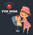 cartoon pediatrician examines little kid poster vector image vector image