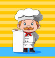 chef is holding blank paper for menu vector image vector image