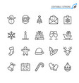 christmas line icons editable stroke vector image