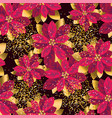 christmas poinsettia seamless pattern vector image