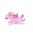 cute cartoon pink magic unicorn with multicolored vector image vector image
