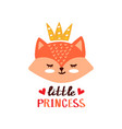 cute fox little prinsess vector image vector image