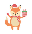 cute fox with gift and scarf merry christmas vector image vector image