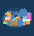 cute puppy with gifts vector image vector image