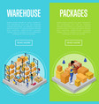 delivery packing and warehouse management set vector image vector image