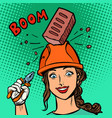 female professional brick falls on helmet vector image