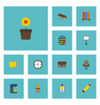 flat icons watch tea puncher and other vector image vector image