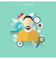 Flat travel background with male icon Time and vector image