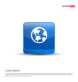 globe icon - 3d blue button vector image