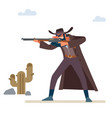 gold hunter aims his rifle old wild west vector image vector image