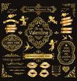 gold love vintage decorative design elements set vector image