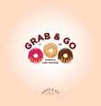 grab and go donuts logo bakery cafe emblem vector image