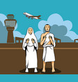 hajj pilgrim praying and the airport background vector image vector image