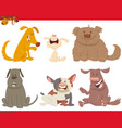 happy dogs or puppies cartoon characters vector image vector image