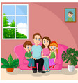 happy family sitting on sofa vector image