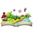 happy insect on open book vector image