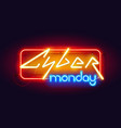 horizontal colorful neon cyber monday sign vector image