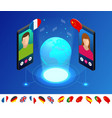 isometric online voice translator and learning vector image
