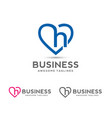 letter h with heart outlines logo vector image