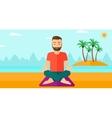 Man meditating in lotus pose vector image vector image