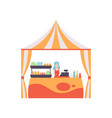 market food counter with fast food and female vector image vector image