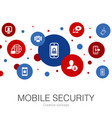 mobile security trendy circle template with simple vector image vector image