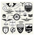 Monochrome Mega Set of the theme aviation vector image vector image