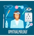 Optometrist profession and eye examination symbol vector image vector image