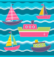pattern with blue sea waves boats and ship vector image