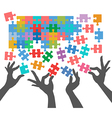People join to find puzzle connections vector image