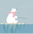 polar bear in the iceburg cartoon vector image