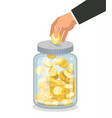 saving flat money jar with hand hoding coin vector image vector image