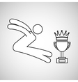silhouette person long jump winner sport vector image vector image