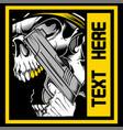 skull roars holding a gun vector image vector image