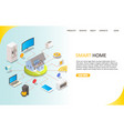 smart home landing page website template vector image vector image