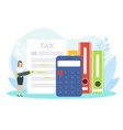 tiny female financial accountant filling tax vector image vector image