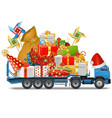 Trailer with Christmas Gifts vector image