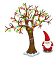 tree decorated with garland and santa claus vector image vector image
