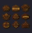 vintage gold emblem set flourishes crest vector image