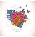 vintage greeting card tropical flowers butterfly vector image vector image