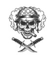 vintage soldier skull in smoke cloud vector image vector image