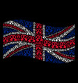 waving great britain flag collage of lesbi symbol vector image