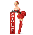 Woman in Santa Claus costume with sale banner vector image vector image